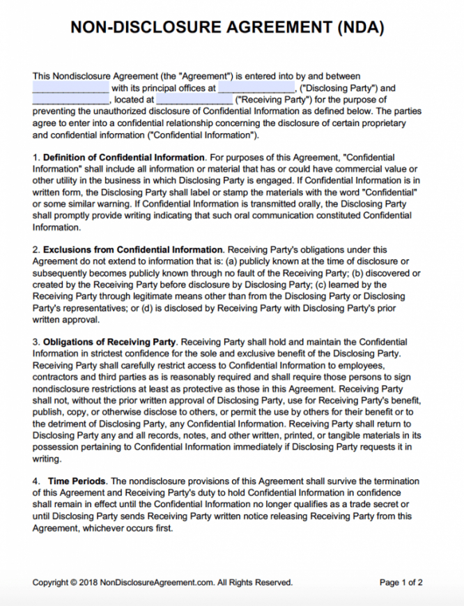 nondisclosure agreement nda template  sample non disclosure statement template excel