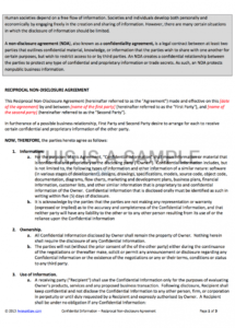 nondisclosure agreement reciprocal non disclosure agreement template pdf