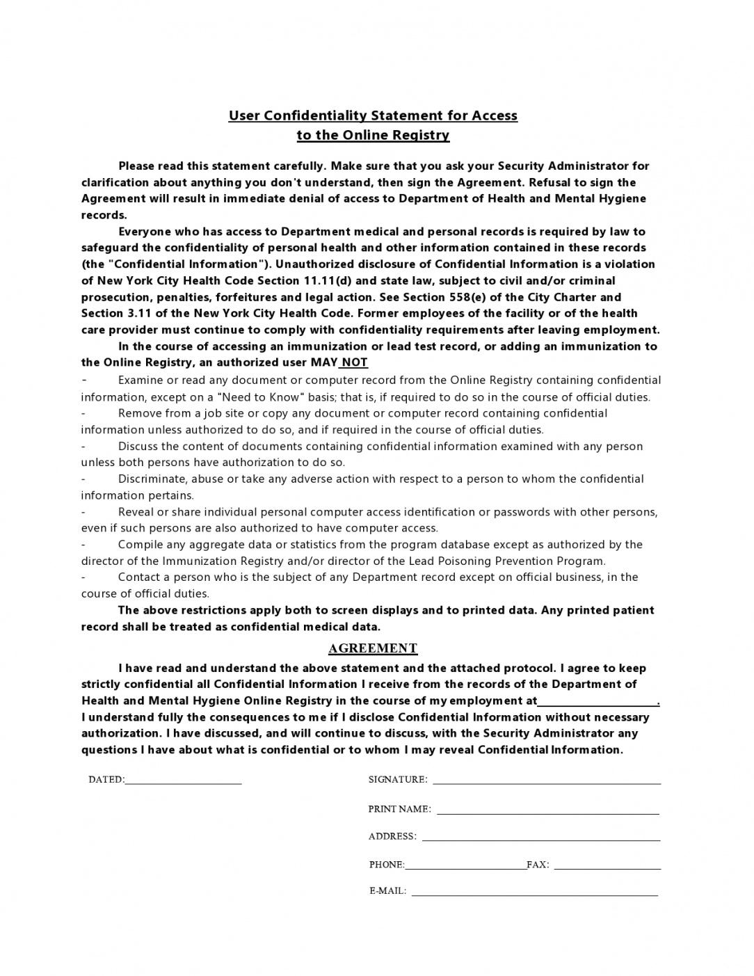 printable 24 simple confidentiality statement & agreement templates confidential statement template word