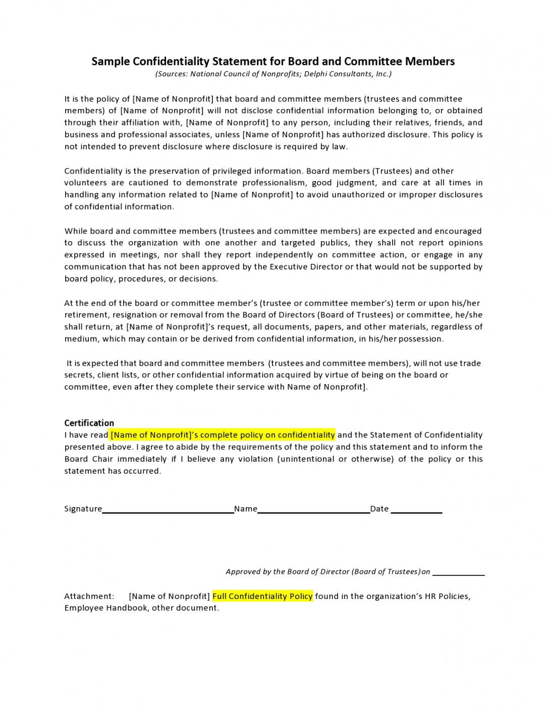 printable 24 simple confidentiality statement & agreement templates confidential statement template