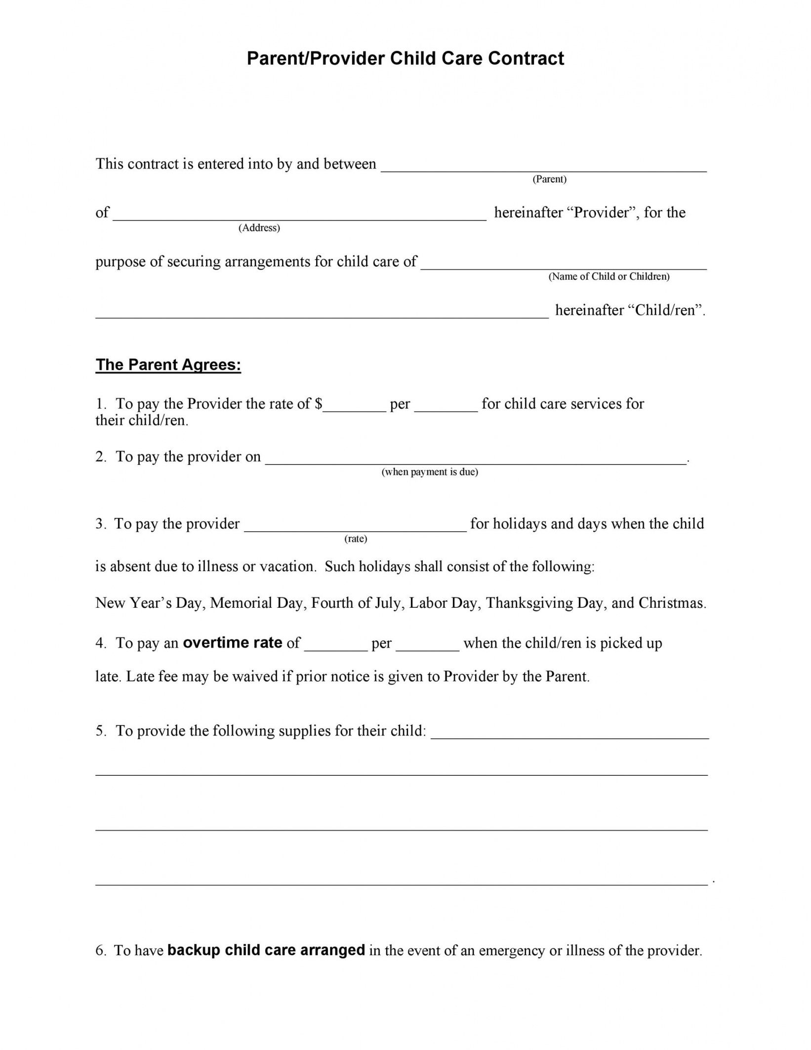 printable 50 daycare child care & babysitting contract templates preschool teacher contract template doc