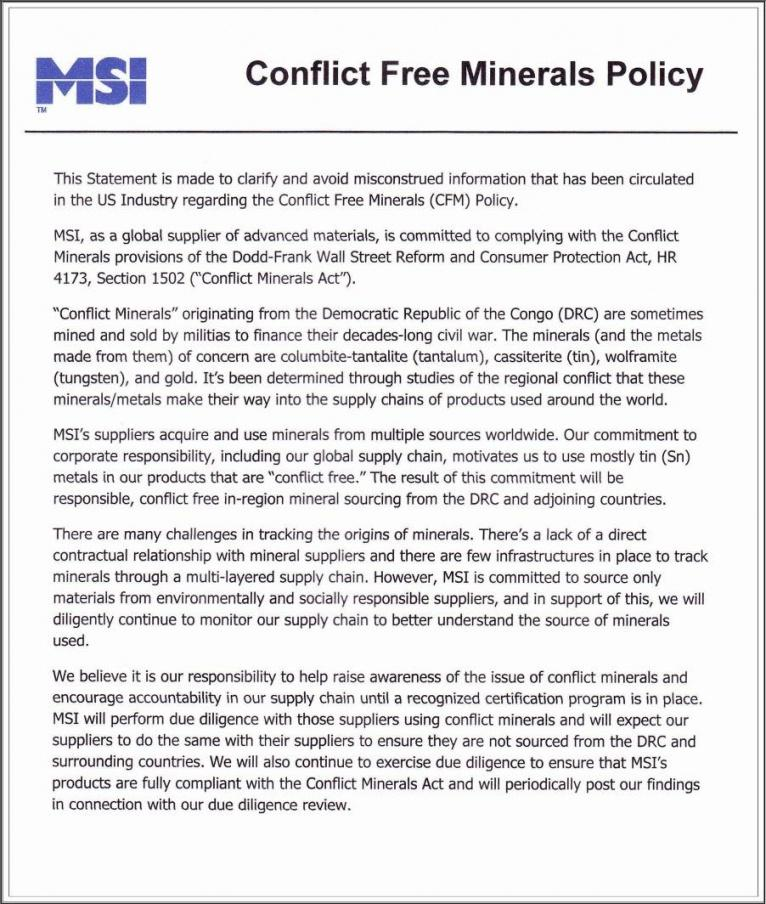printable cfm policy  msi  materials science international inc conflict minerals policy statement template doc