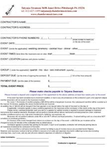 printable chamber music  contract form music lessons contract template excel