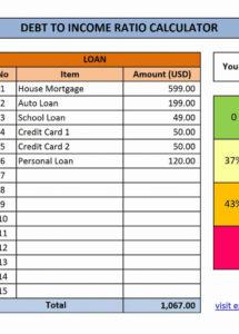 printable debttoincome dti ratio calculator  excel templates profit and loss statement template for loan modification word