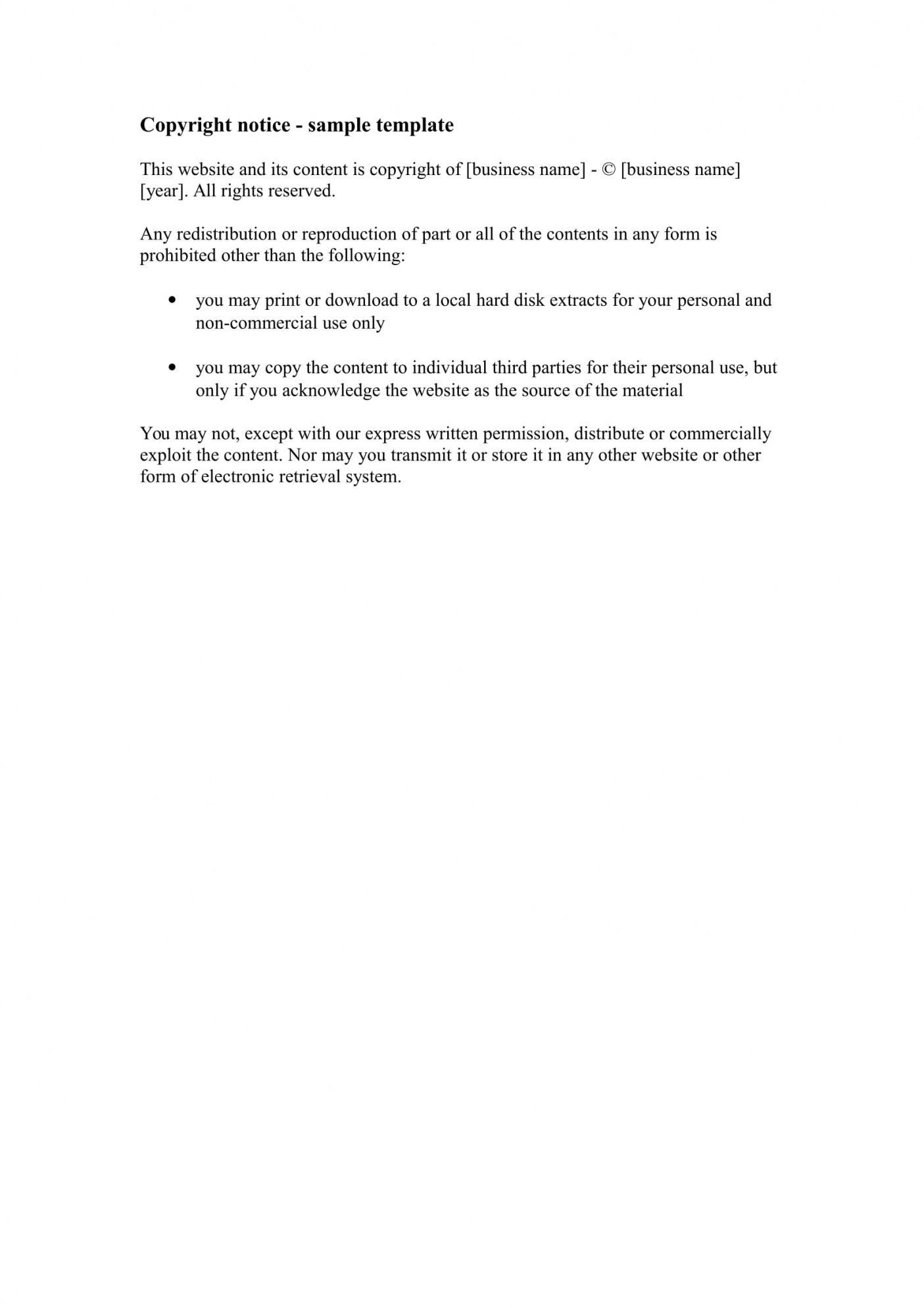 printable examples on how to write a copyright statement  examples photography copyright statement template
