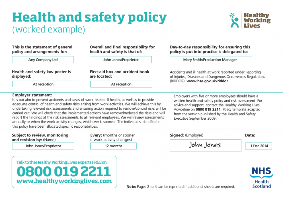 printable free 21 health and safety policy examples in pdf  google restaurant health and safety policy template sample