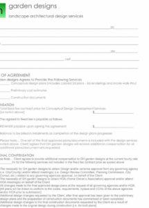 printable graden designer contract example landscape design contract template example