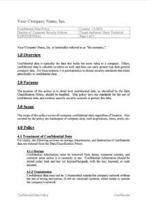 printable information security policy template ~ addictionary corporate information security policy template word