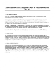 printable policy on privacy and employee monitoring template  by employee theft policy template word