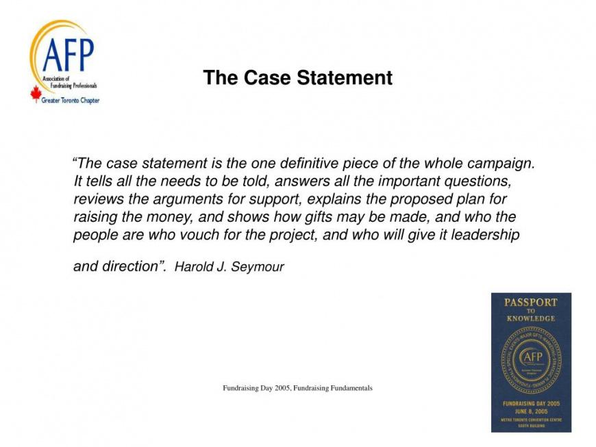 printable ppt  1 fundraising fundamental case for support fundraising case statement template example