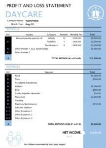 sample 35 profit and loss statement templates & forms daycare profit and loss statement template