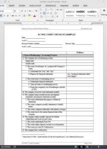 sample financial audit checklist template  ac10503 audited financial statement template