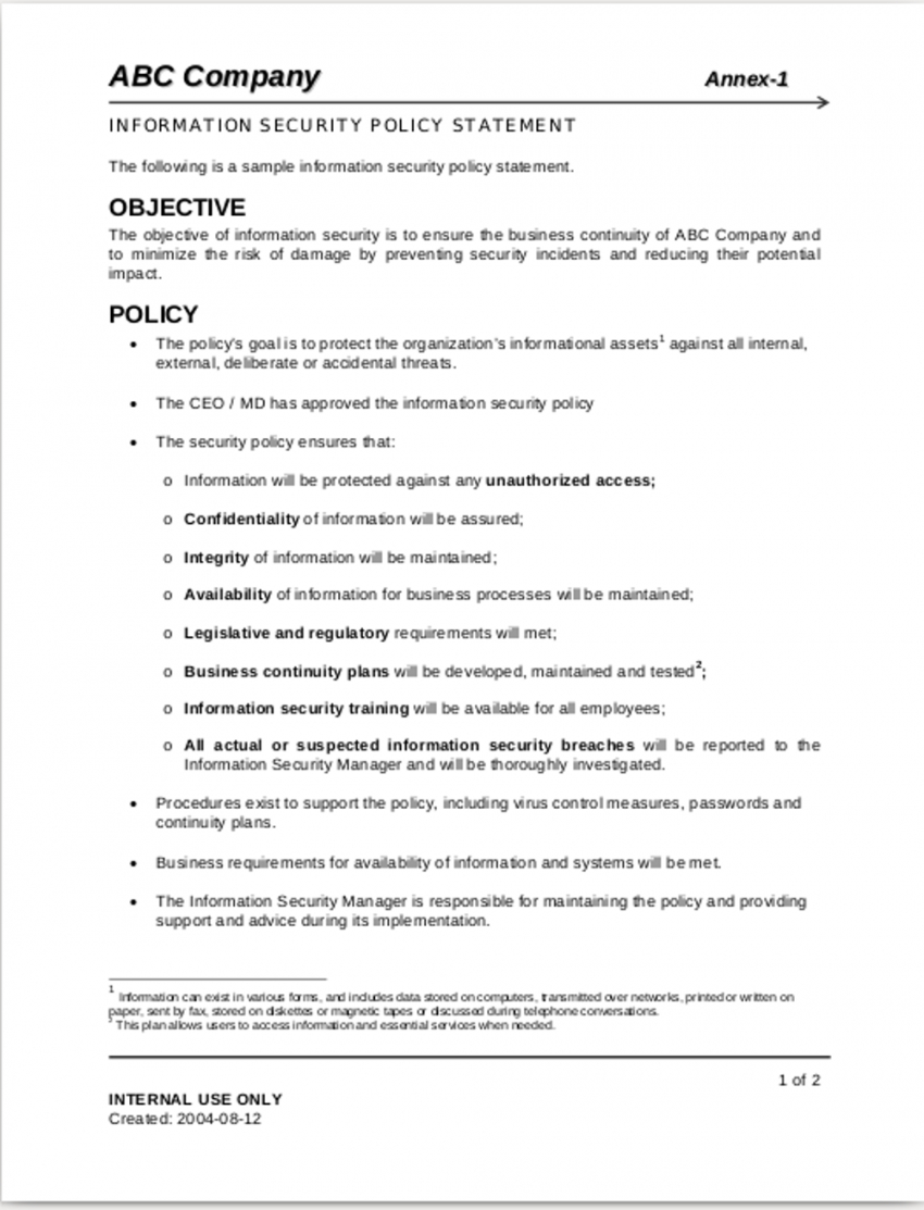 sample free 11 security policy examples in pdf  examples corporate information security policy template excel