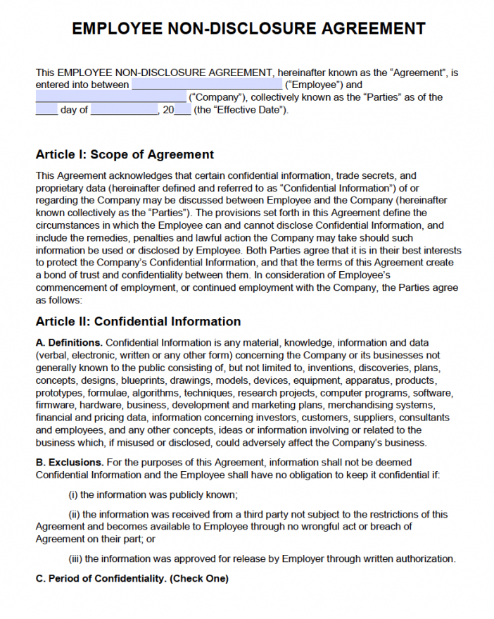 sample free employee nondisclosure agreement nda  pdf  word non disclosure statement template doc
