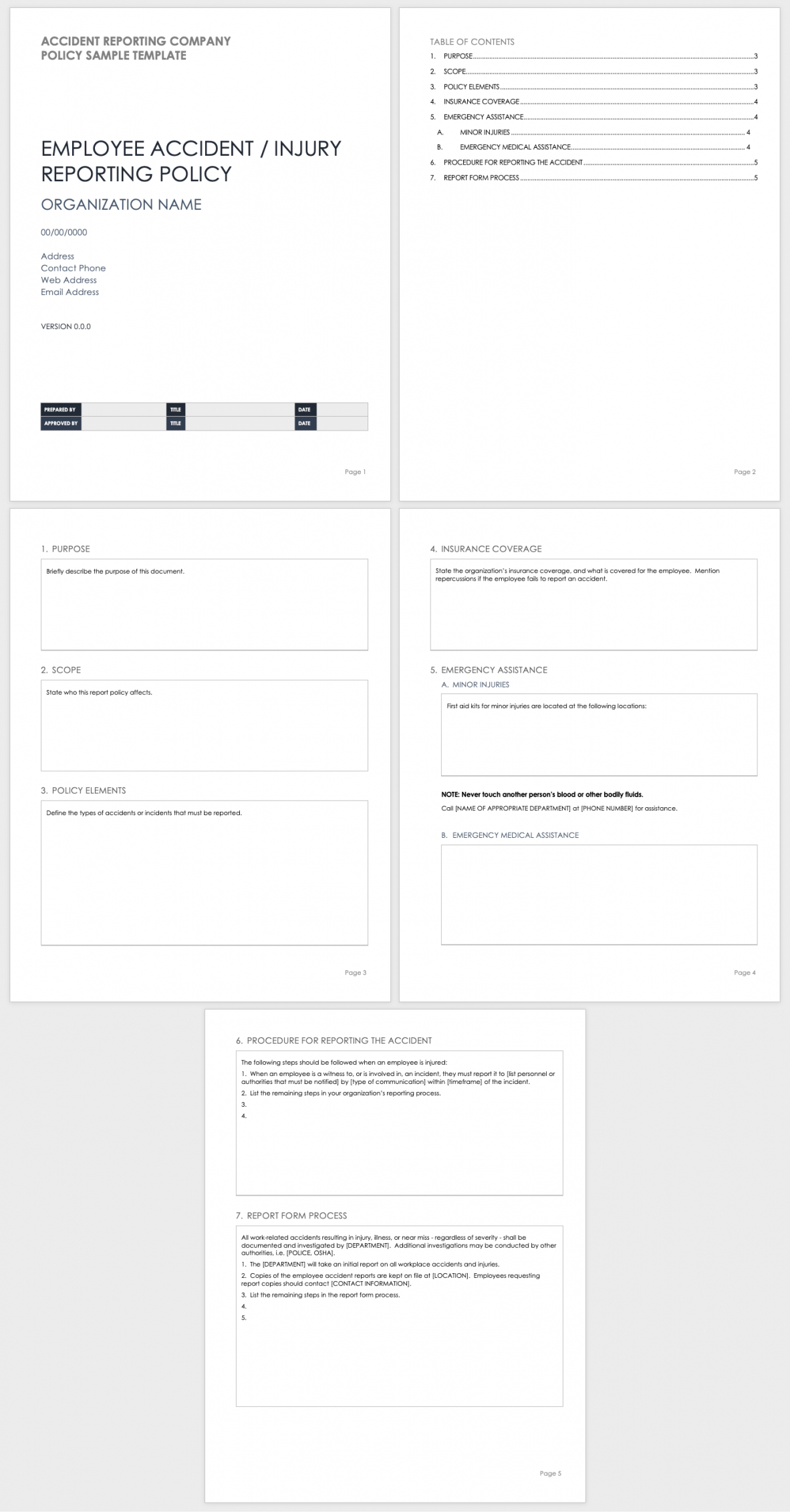 sample free workplace accident report templates  smartsheet accident reporting policy template excel