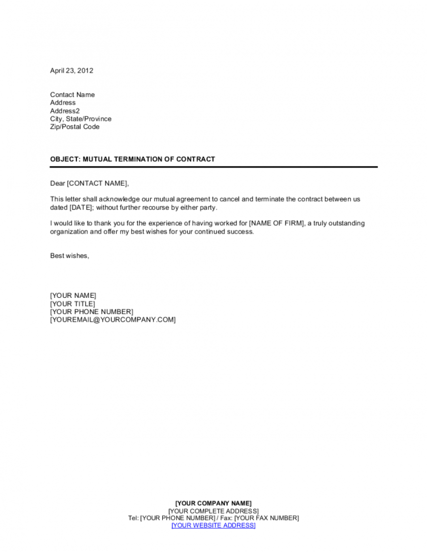 sample mutual termination of contract template  by businessinabox™ mutual contract termination agreement template