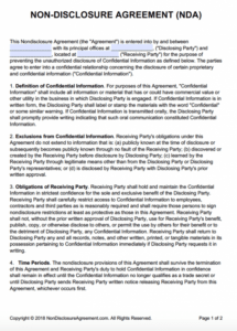 sample nondisclosure agreement nda template  sample confidential statement template pdf