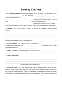 sample painting contract template download printable pdf personal appearance contract template doc