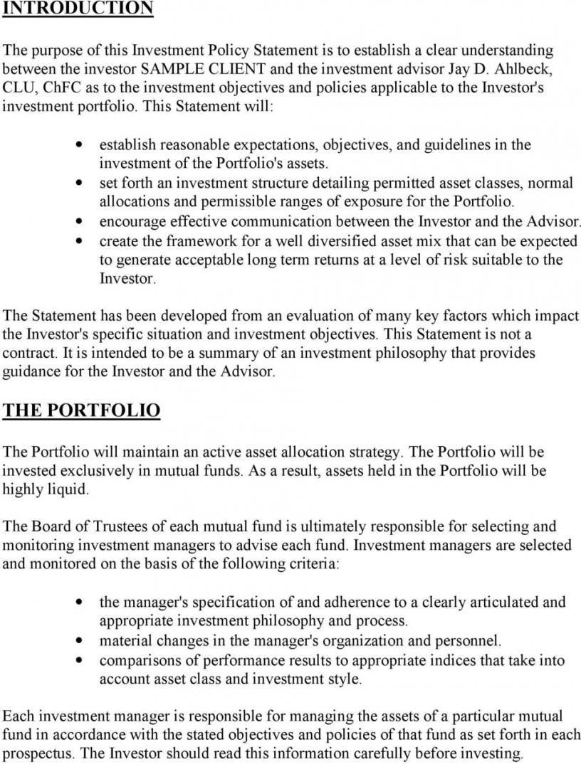 sample sample investment policy statement  pdf free download investment policy statement template word