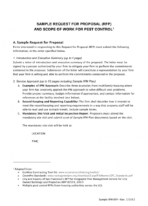 sample sample rfp for pest control pest control contract proposal template word