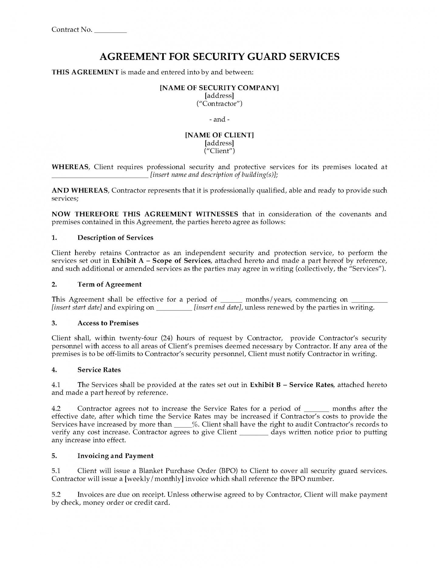 sample usa security guard services agreement security service guard contract template word