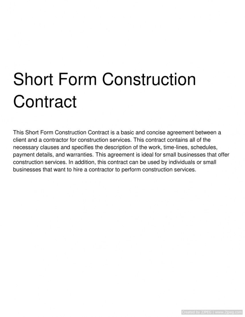 short form construction contract short form construction contract template pdf
