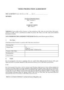 video production contract video production agreement contract template pdf