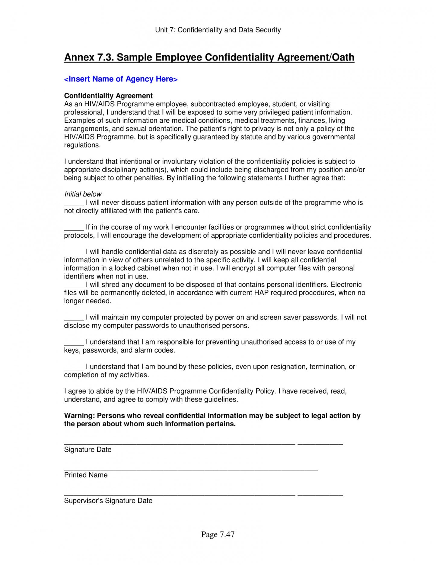 11 employee confidentiality agreement examples  pdf word employee intellectual property policy template doc
