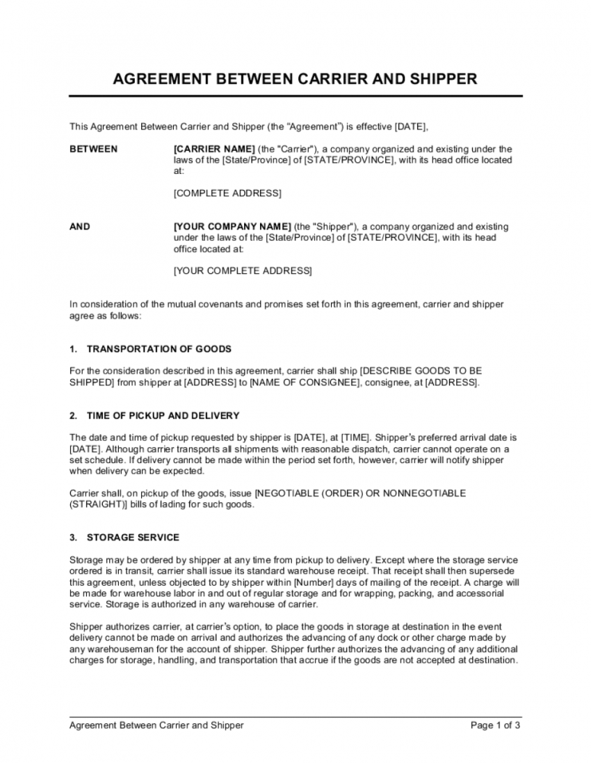 agreement between carrier and shipper template  by business courier service contract template sample