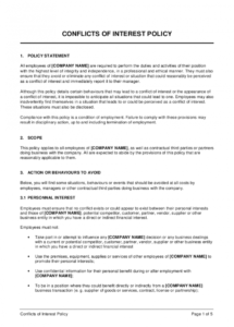 conflicts of interest policy template  by businessinabox™ employee conflict of interest policy template word