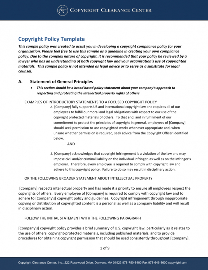 developing a corporate copyright policy employee intellectual property policy template word