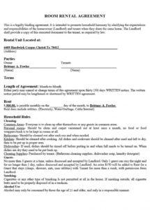 editable 39 simple room rental agreement templates  templatearchive rental policy template pdf
