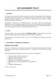 editable anti harassment policy template  by businessinabox™ anti discrimination and harassment policy template pdf