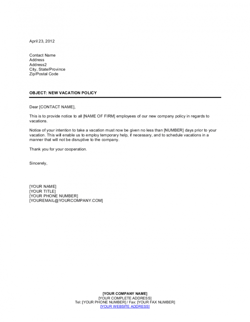editable notice to employees of new vacation policy template  by employee vacation policy template sample