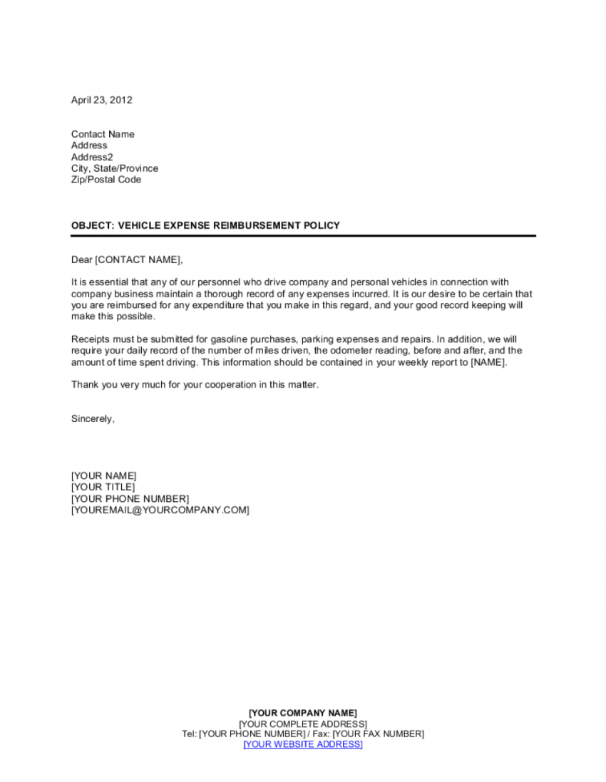 editable policy letter on vehicle expense reimbursement template  by use of company vehicle policy template