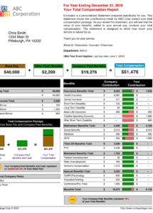 editable samples of employee benefit statements and total total rewards statement template excel