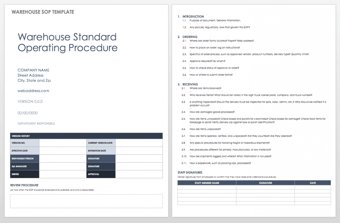 editable standard operating procedures templates  smartsheet warehouse policy and procedures template