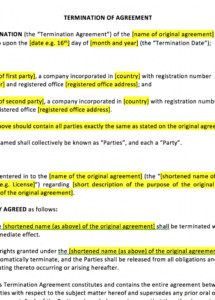 editable termination of agreement template contract termination clause template example