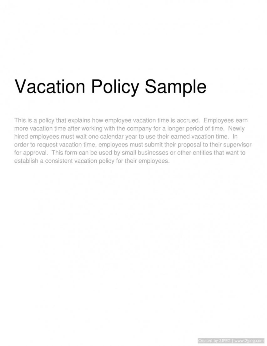 editable vacation policy sample employee vacation policy template pdf
