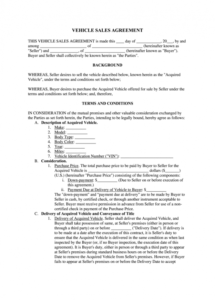 editable vehicle purchase agreement  fill online printable automotive service contract template doc