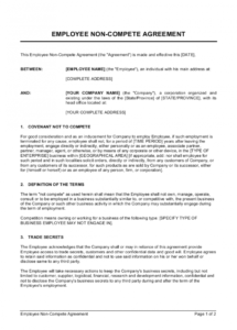 employee noncompete agreement template  by businessinabox™ no compete contract template word