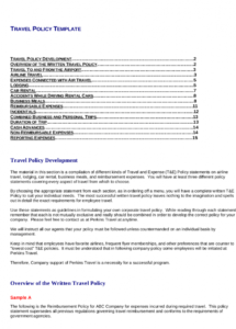 free 22 travel policy examples in pdf  google docs  pages company car allowance policy template example
