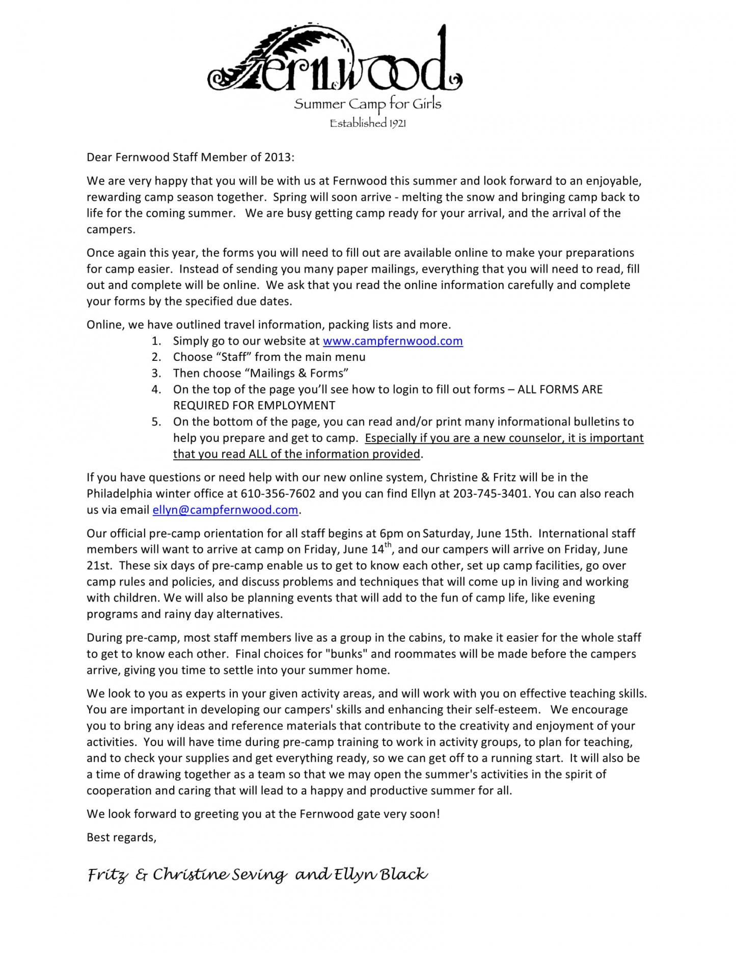 free 9 new hire welcome letter examples  pdf  examples summer camp welcome letter template