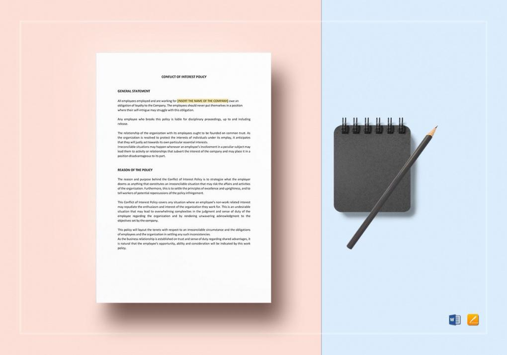 free conflict of interest policy template in word apple pages employee conflict of interest policy template word