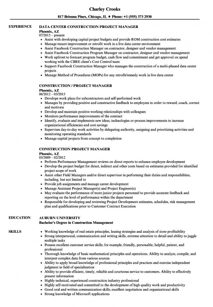 free construction project manager resume samples  velvet jobs construction project manager contract template example