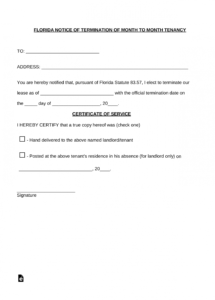 free florida lease termination letter  15 day notice  pdf rental lease termination letter template sample