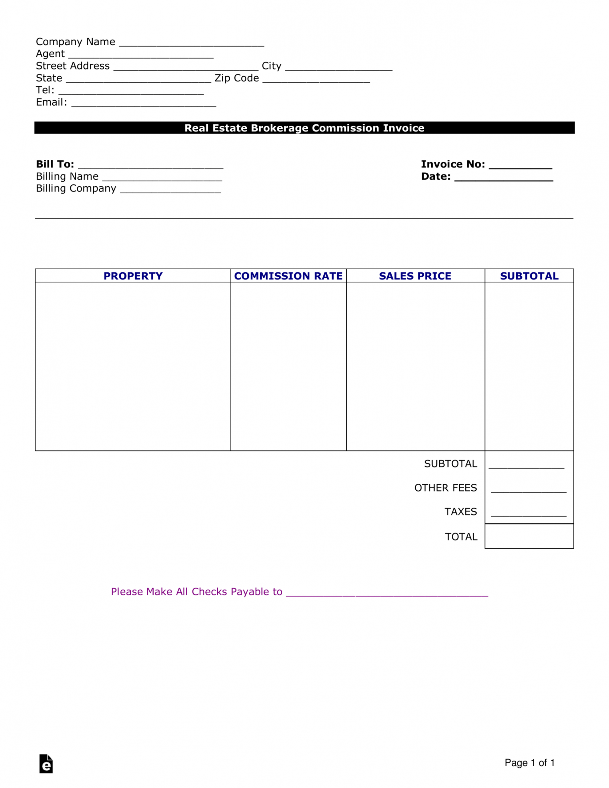 free free real estate agent commission invoice template  word commission statement template word