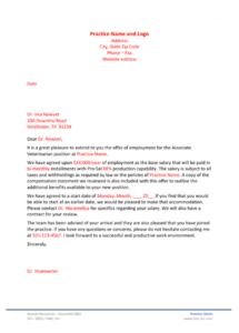 free offerletterassociateveterinarian veterinary employment contract template word