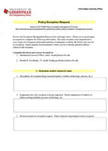 free policy exception request information security office security policy exception template sample