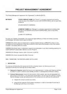 free project management agreement template  by businessinabox™ construction project manager contract template excel